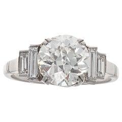 Art Deco 2.25 Carat Old European Cut Diamond Platinum Engagement Ring