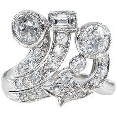 Art Deco 2.25 Carat Old European Round Cut Diamond Cocktail Platinum Ring