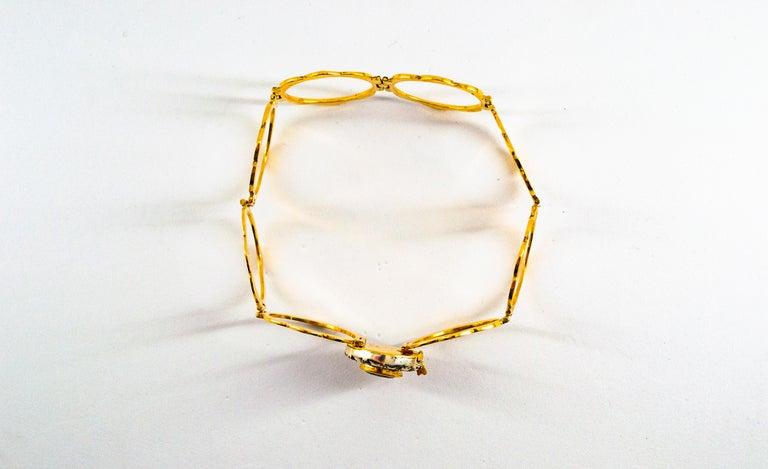 Art Deco Style 2.25 Carat White Diamond Blue Sapphire Yellow Gold Bracelet Ring For Sale 5