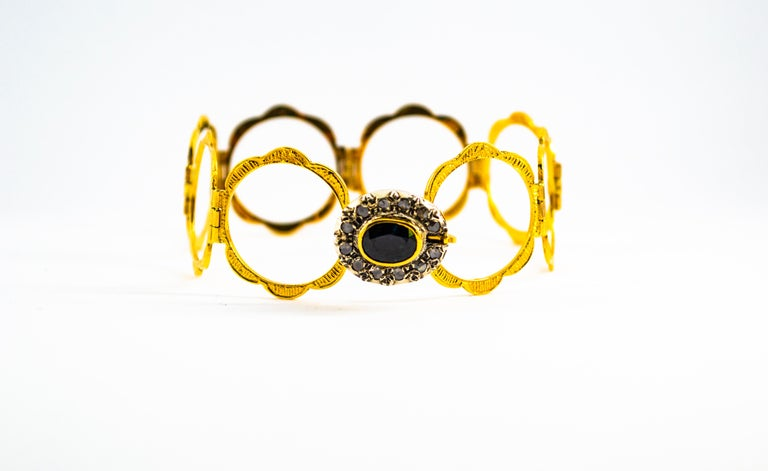 Women's or Men's Art Deco Style 2.25 Carat White Diamond Blue Sapphire Yellow Gold Bracelet Ring For Sale