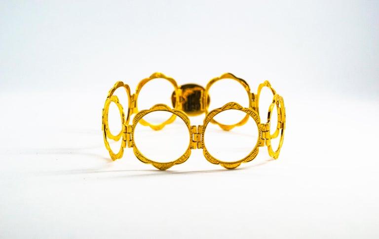 Art Deco Style 2.25 Carat White Diamond Blue Sapphire Yellow Gold Bracelet Ring For Sale 2