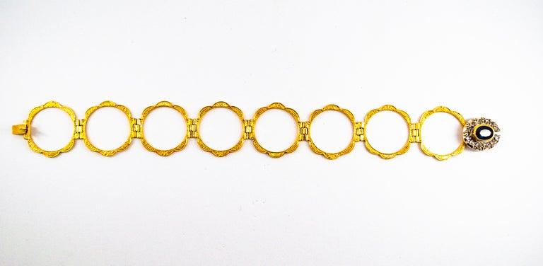 Art Deco Style 2.25 Carat White Diamond Blue Sapphire Yellow Gold Bracelet Ring For Sale 3