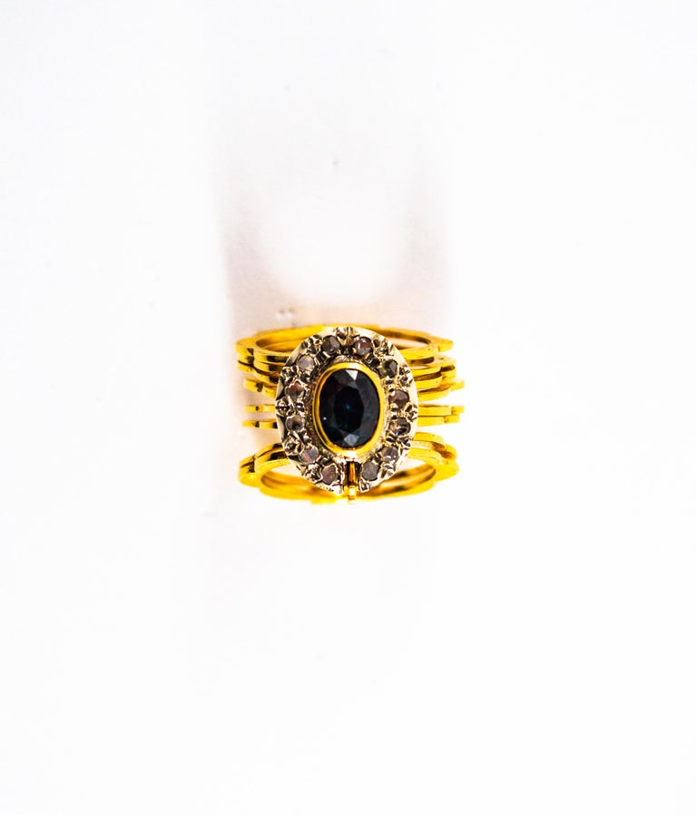 Art Deco Style 2.25 Carat White Diamond Blue Sapphire Yellow Gold Bracelet Ring For Sale 4