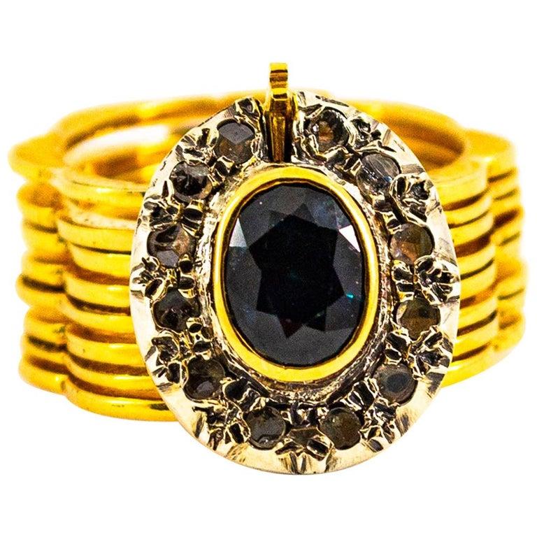 Art Deco Style 2.25 Carat White Diamond Blue Sapphire Yellow Gold Bracelet Ring For Sale
