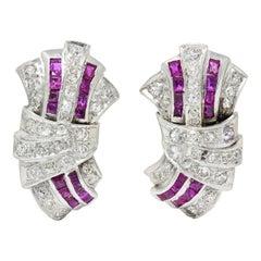 Art Deco 2.25 Carats Ruby Diamond Platinum Flared Earrings, Circa 1930