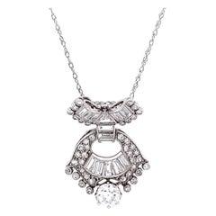 Art Deco 2.25 Total Carat Weight Diamond Platinum Pendant & Gold Necklace