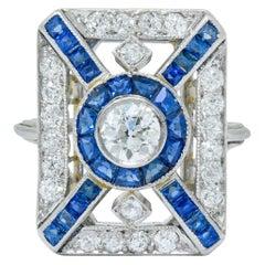 Art Deco 2.26 Carat Diamond Sapphire Platinum Double Halo Dinner Ring