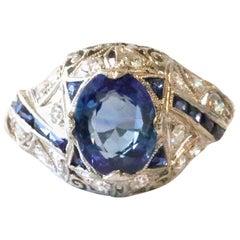 Art Deco 2.28 Carat Oval Cut AGL Burma Sapphire No Heat Diamond Platinum Ring