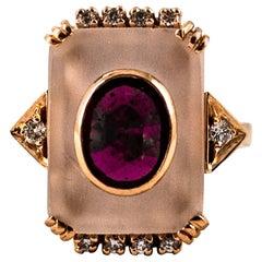 Art Deco Style 2.28 Carat White Diamond Ruby Rock Crystal Yellow Gold Ring