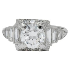 Art Deco 2.29 Carat Diamond Platinum Engagement Ring GIA