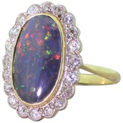 Art Deco 2.30 Carat Black Opal and Old Cut Diamond Ring