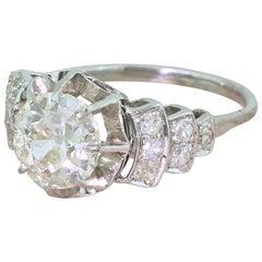 Art Deco 2.31 Carat Old Cut Diamond Platinum Engagement Ring