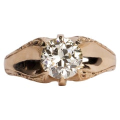 Art Deco 2.32ct GIA Old European Cut Diamond Yellow Gold Belcher Solitaire Ring