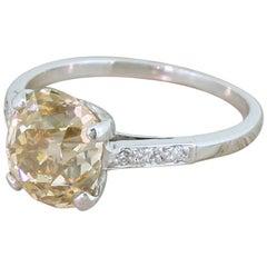 Art Deco 2.33 Carat Light Orangey Brown Old Cut Diamond Engagement Ring