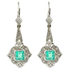 Art Deco 2.34 Carat Emerald Diamond Platinum Drop Earrings