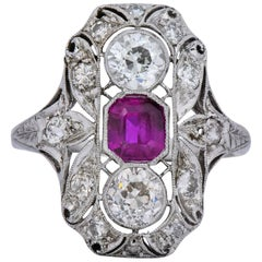 Art Deco 2.34 Carat No Heat Burma Ruby Diamond Platinum Dinner Ring