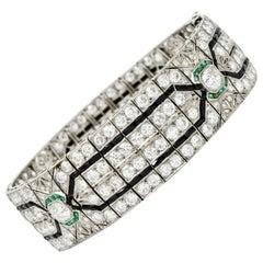 Art Deco 23.86 Carat Diamond Emerald Onyx Platinum Wide Decorous Bracelet