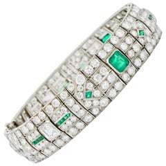 Art Deco 23.96 Carat Diamond Emerald Platinum Geometric Link Bracelet