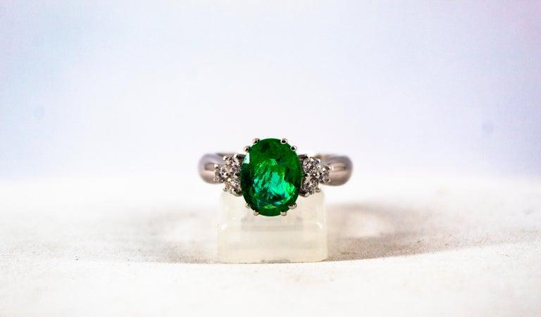 Art Deco Style 2.43 Carat Emerald 0.35 Carat Diamond White Gold Cocktail Ring For Sale 5