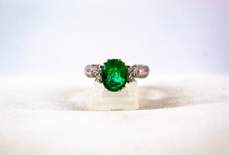 Art Deco Style 2.43 Carat Emerald 0.35 Carat Diamond White Gold Cocktail Ring For Sale 6