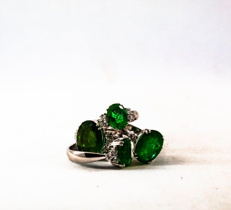 Art Deco Style 2.43 Carat Emerald 0.35 Carat Diamond White Gold Cocktail Ring For Sale 9