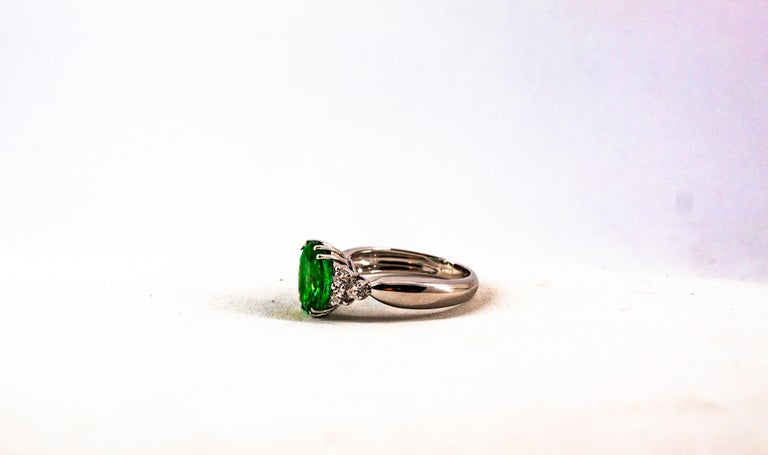Art Deco Style 2.43 Carat Emerald 0.35 Carat Diamond White Gold Cocktail Ring For Sale 11