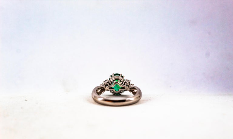 Art Deco Style 2.43 Carat Emerald 0.35 Carat Diamond White Gold Cocktail Ring For Sale 12