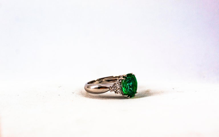 Art Deco Style 2.43 Carat Emerald 0.35 Carat Diamond White Gold Cocktail Ring For Sale 13