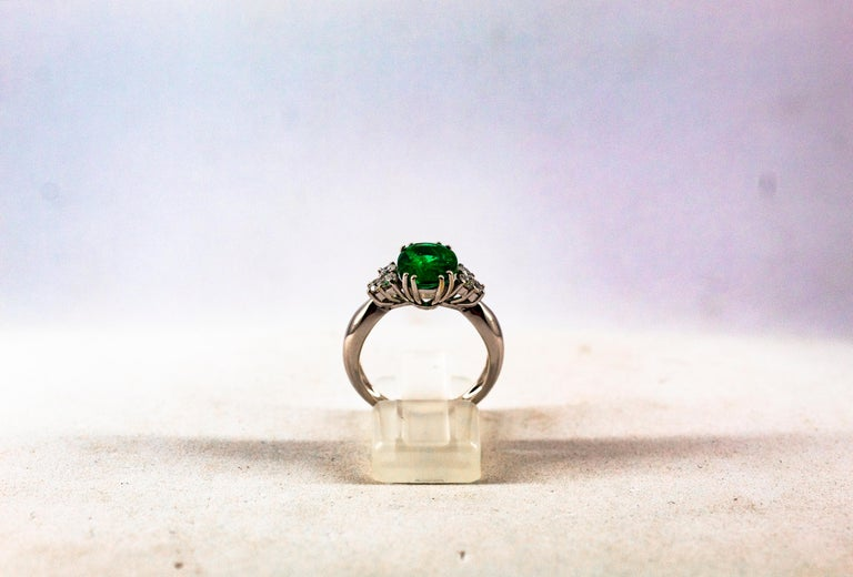 Art Deco Style 2.43 Carat Emerald 0.35 Carat Diamond White Gold Cocktail Ring In New Condition For Sale In Naples, IT