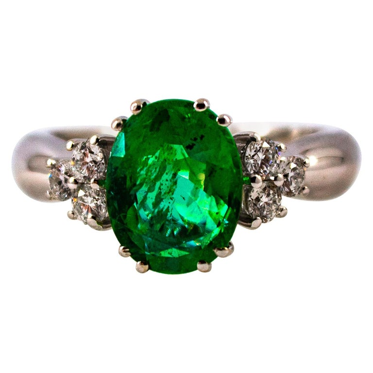 Art Deco Style 2.43 Carat Emerald 0.35 Carat Diamond White Gold Cocktail Ring For Sale