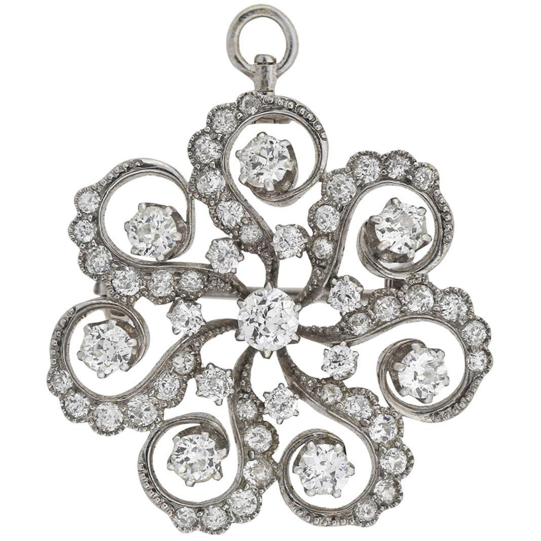 Art Deco 2.45 Total Carat Diamond Swirled Floral Motif Pin/Pendant