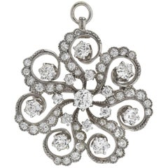 Art Deco 2.45 Total Carat Diamond Swirled Floral Motif Pin/Pendant