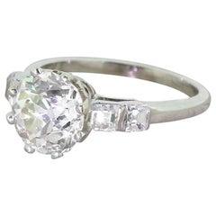 Art Deco 2.46 Carat Old Cut and 0.48 Carat Asscher Cut Diamond Engagement Ring
