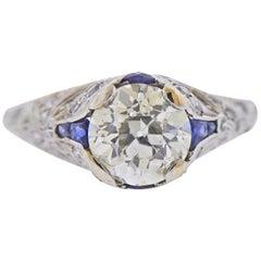 Art Deco 2.48 Carat Old European Diamond Platinum Engagement Ring