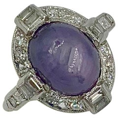 Art Deco 2.5 Carat Purple Star Sapphire Diamond Platinum Halo Ring Antique