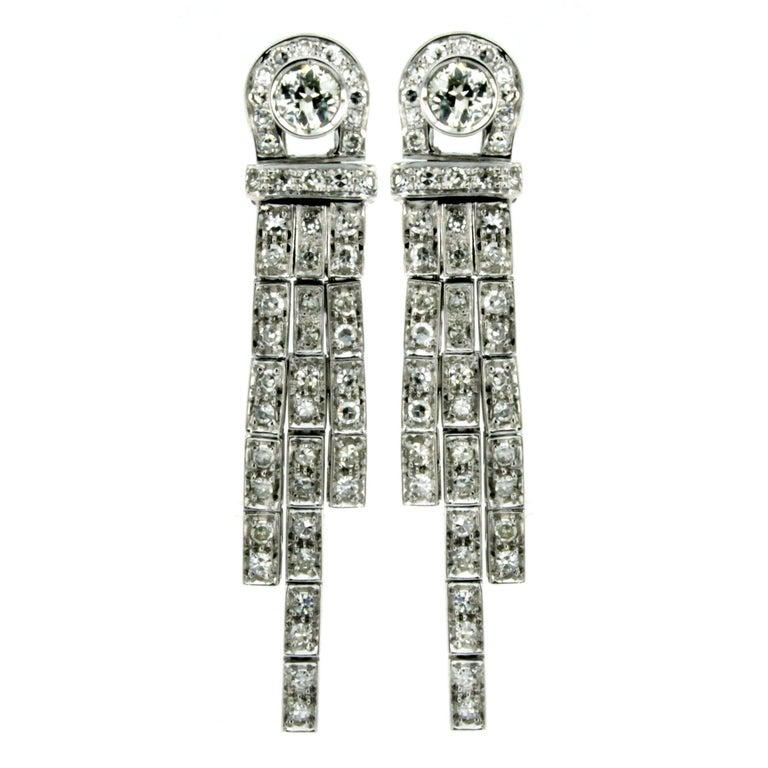 Art Deco 2.50 Carat Diamond Gold Drop Earrings, 1930s