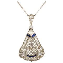 Art Deco 2.50 Carat Diamond Sapphire Pendant Necklace