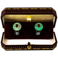 Art Deco 2.50 Carat Tourmaline Jade Onyx Mother of Pearl Yellow Gold Cufflinks