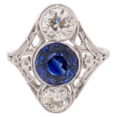 Art Deco 2.53 Carat Sapphire and Diamond Platinum Ring Estate Fine Jewelry