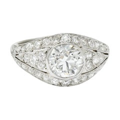 Art Deco 2.53 Carats Old European Diamond Platinum Bombe Band Ring