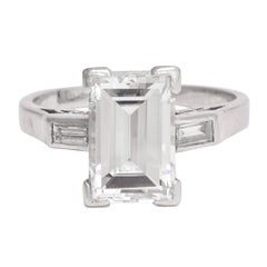 Art Deco 2.54 Carat Emerald Cut Diamond Solitaire Engagement Ring