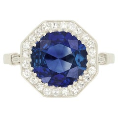 Art Deco 2.54ct Sapphire and Diamond Halo Ring, c.1920s