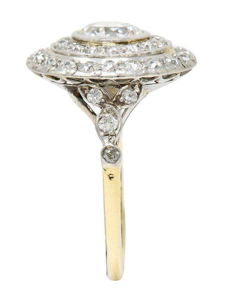 Art Deco 2.56 Carats Diamond Platinum-Topped 14 Karat Gold Cluster Ring GIA For Sale 5
