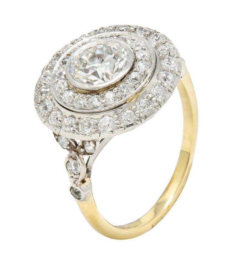 Art Deco 2.56 Carats Diamond Platinum-Topped 14 Karat Gold Cluster Ring GIA For Sale 6