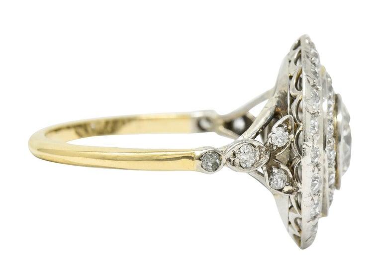 Old European Cut Art Deco 2.56 Carats Diamond Platinum-Topped 14 Karat Gold Cluster Ring GIA For Sale