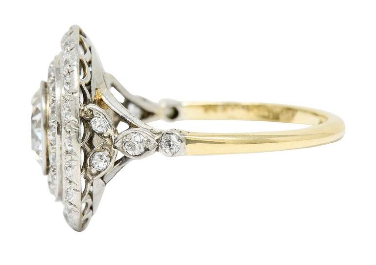 Women's or Men's Art Deco 2.56 Carats Diamond Platinum-Topped 14 Karat Gold Cluster Ring GIA For Sale