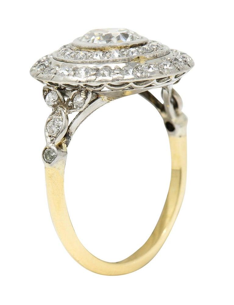 Art Deco 2.56 Carats Diamond Platinum-Topped 14 Karat Gold Cluster Ring GIA For Sale 4