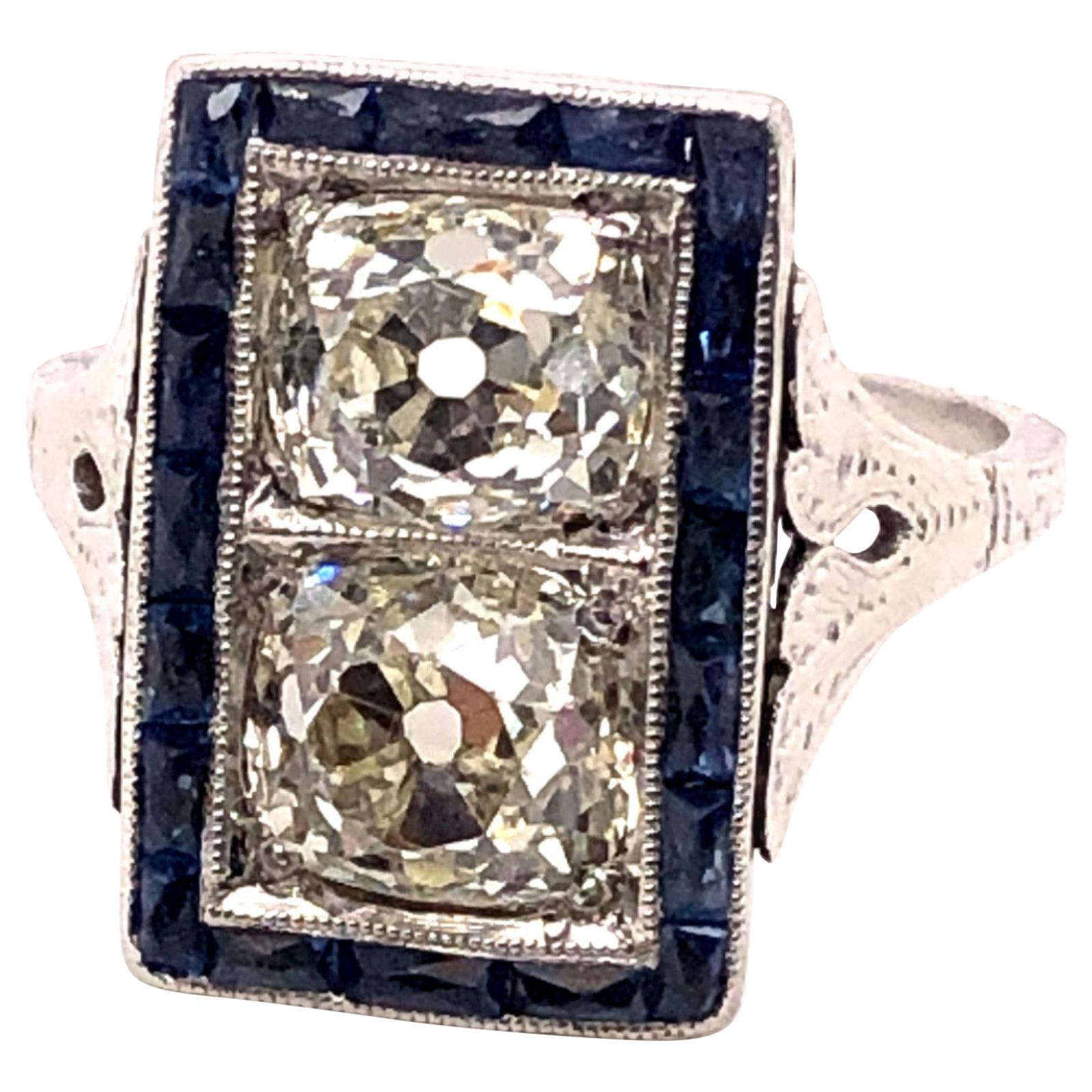 Art Deco 2.58 Carat Old Mine Cut Diamond and French Cut Sapphire Ring
