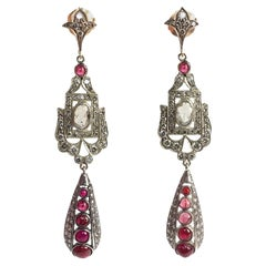 Art Deco 2.6 Carat Diamond 2.5 Carat Ruby Platinum Gold and Silver Earrings