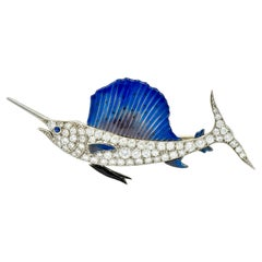 Art Deco 2.60 Carat Diamond Blue Enamel Platinum Swordfish Brooch